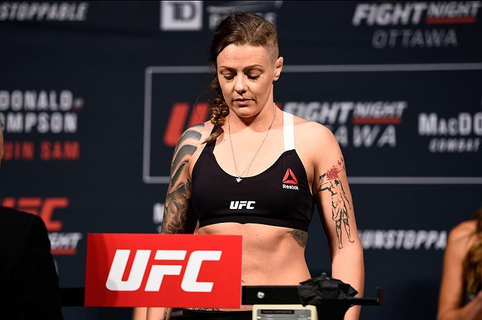 OTTAWA, ON - JUNE 17:  Joanne Calderwood of Scotland steps on the scale during the UFC Fight Night Weigh-in inside the Arena at TD Place on June 17, 2016 in Ottawa, Ontario, Canada. (Photo by Jeff Bottari/Zuffa LLC/Zuffa LLC via Getty Images)