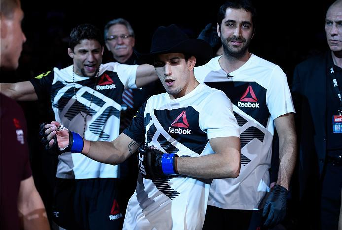 MEXICO CITY, MEXICO - NOVEMBER 05:  Felipe Arantes of Brazil prepares to enter the Octagon before facing Erik Perez of Mexico in their bantamweight bout during the UFC Fight Night event at Arena Ciudad de Mexico on November 5, 2016 in Mexico City, Mexico.