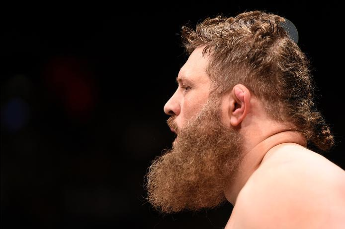 LAS VEGAS, NV - JULY 07:   Roy Nelson prepares to enter the Octagon before his heavyweight bout against Derrick Lewis during the UFC Fight Night event inside the MGM Grand Garden Arena on July 7, 2016 in Las Vegas, Nevada. (Photo by Jeff Bottari/Zuffa LLC