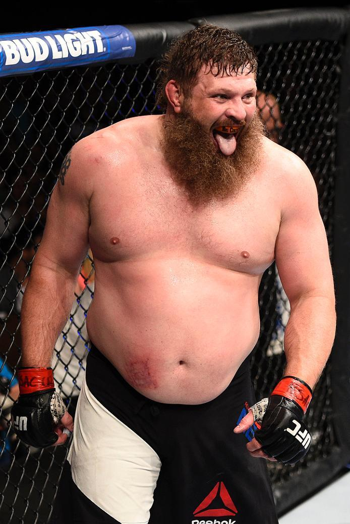 LAS VEGAS, NV - JULY 07:   Roy Nelson reacts after the conclusion of his heavyweight bout against Derrick Lewis during the UFC Fight Night event inside the MGM Grand Garden Arena on July 7, 2016 in Las Vegas, Nevada. (Photo by Jeff Bottari/Zuffa LLC/Zuffa