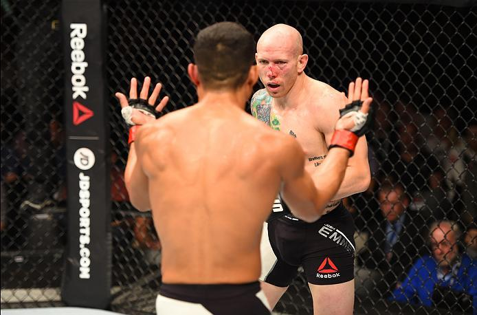 ROTTERDAM, NETHERLANDS - MAY 08:  (L-R) Jon Tuck taunts Josh Emmett in their lightweight bout during the UFC Fight Night event at Ahoy Rotterdam on May 8, 2016 in Rotterdam, Netherlands. (Photo by Josh Hedges/Zuffa LLC/Zuffa LLC via Getty Images)