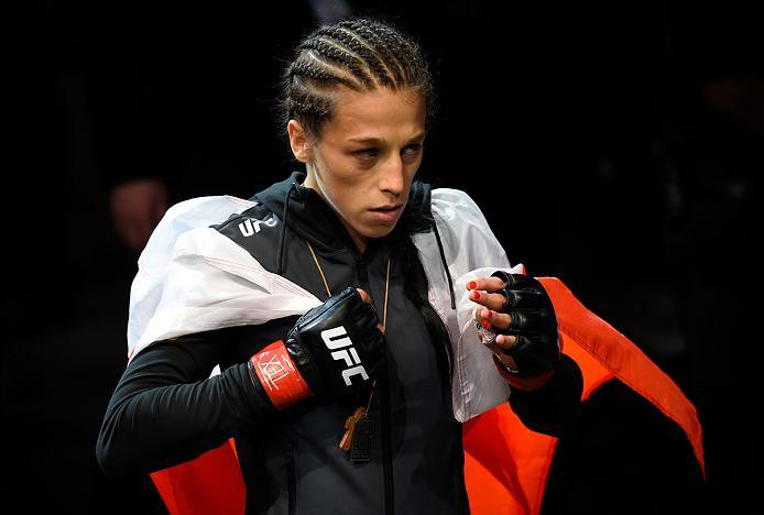 DALLAS, TX - MAY 13:  Joanna Jedrzejczyk prepares to enter the Octagon before facing Jessica Andrade in their UFC women's strawweight championship fight during the UFC 211 event at the American Airlines Center on May 13, 2017 in Dallas, Texas. (Photo by J