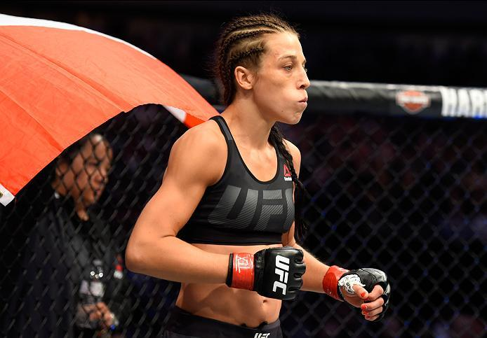 DALLAS, TX - MAY 13:  Joanna Jedrzejczyk enters the Octagon before facing Jessica Andrade in their UFC women's strawweight championship fight during the UFC 211 event at the American Airlines Center on May 13, 2017 in Dallas, Texas. (Photo by Josh Hedges/