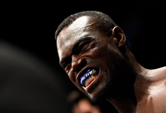 HIDALGO, TX - SEPTEMBER 17:   Uriah Hall of Jamaica prepares to enter the Octagon before facing Derek Brunson in their middleweight bout during the UFC Fight Night event at State Farm Arena on September 17, 2016 in Hidalgo, Texas. (Photo by Josh Hedges/Zu