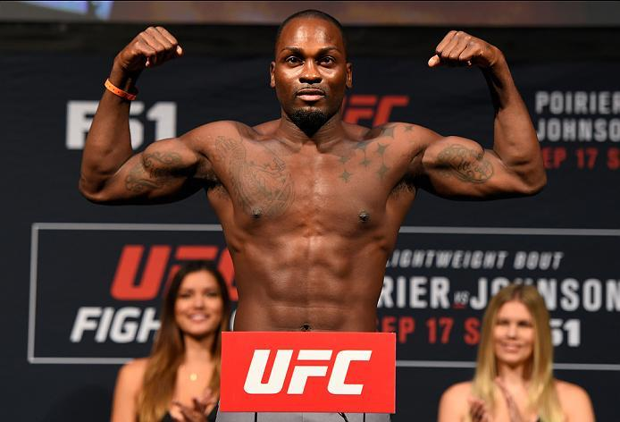 HIDALGO, TX - SEPTEMBER 16:  Derek Brunson of the United States steps onto the scale during the UFC Fight Night weigh-in at the State Farm Arena on September 16, 2016 in Hidalgo, Texas. (Photo by Josh Hedges/Zuffa LLC/Zuffa LLC via Getty Images)