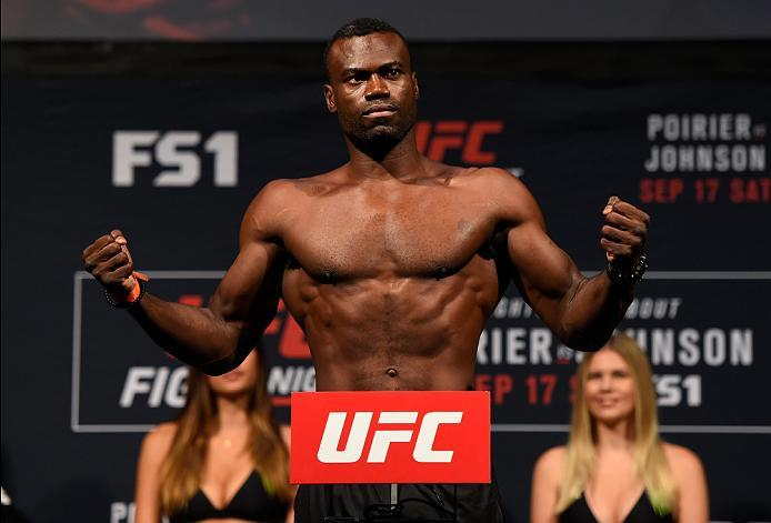 HIDALGO, TX - SEPTEMBER 16:  Uriah Hall of Jamaica steps onto the scale during the UFC Fight Night weigh-in at the State Farm Arena on September 16, 2016 in Hidalgo, Texas. (Photo by Josh Hedges/Zuffa LLC/Zuffa LLC via Getty Images)