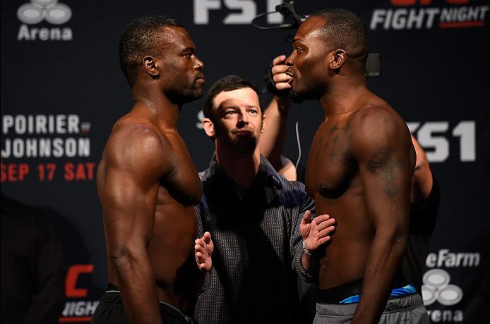 HIDALGO, TX - SEPTEMBER 16:  Uriah Hall of Jamaica and Derek Brunson of the United States face off during the UFC Fight Night weigh-in at the State Farm Arena on September 16, 2016 in Hidalgo, Texas. (Photo by Josh Hedges/Zuffa LLC/Zuffa LLC via Getty Ima