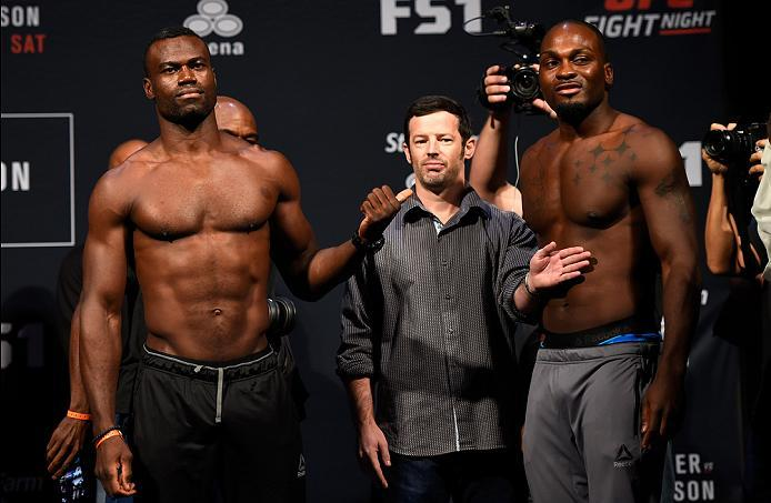 HIDALGO, TX - SEPTEMBER 16:  Uriah Hall of Jamaica and Derek Brunson of the United States pose for the media during the UFC Fight Night weigh-in at the State Farm Arena on September 16, 2016 in Hidalgo, Texas. (Photo by Josh Hedges/Zuffa LLC/Zuffa LLC via