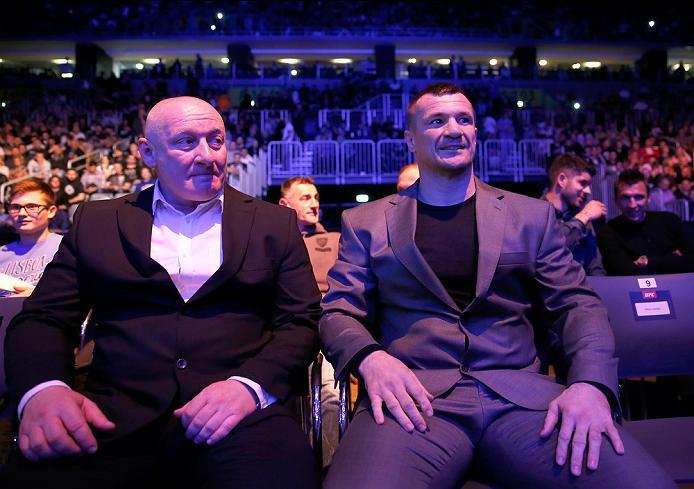 ZAGREB, CROATIA - APRIL 10:   Mirko Cro Cop (right) watches the fights during the UFC Fight Night event at the Arena Zagreb on April 10, 2016 in Zagreb, Croatia. (Photo by Srdjan Stevanovic/Zuffa LLC/Zuffa LLC via Getty Images)