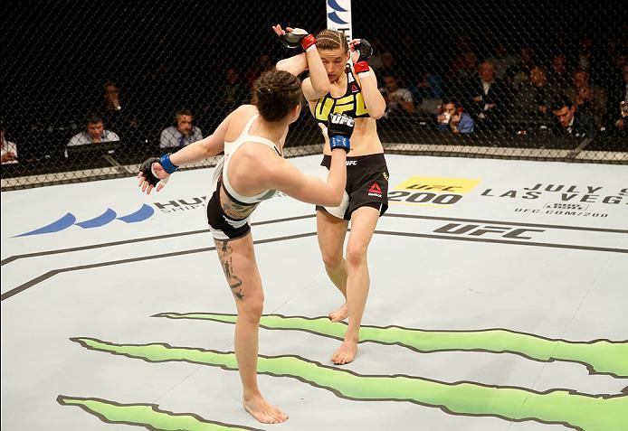 ZAGREB, CROATIA - APRIL 10:   (L-R) Cristina Stanciu kicks Maryna Moroz in their strawweight bout during the UFC Fight Night event at the Arena Zagreb on April 10, 2016 in Zagreb, Croatia. (Photo by Srdjan Stevanovic/Zuffa LLC/Zuffa LLC via Getty Images)