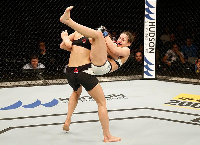 ZAGREB, CROATIA - APRIL 10:   (R-L) Cristina Stanciu attempts to submit Maryna Moroz in their strawweight bout during the UFC Fight Night event at the Arena Zagreb on April 10, 2016 in Zagreb, Croatia. (Photo by Srdjan Stevanovic/Zuffa LLC/Zuffa LLC via G