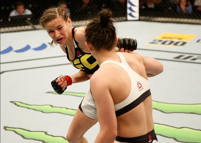 ZAGREB, CROATIA - APRIL 10:   (L-R) Maryna Moroz punches Cristina Stanciu in their strawweight bout during the UFC Fight Night event at the Arena Zagreb on April 10, 2016 in Zagreb, Croatia. (Photo by Srdjan Stevanovic/Zuffa LLC/Zuffa LLC via Getty Images