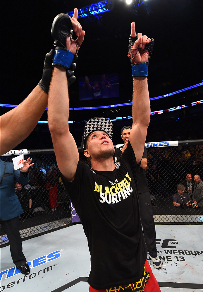 NEW ORLEANS, LA - JUNE 06:  Brian Ortega celebrates his victory over Thiago Tavares in their featherweight bout during the UFC event at the Smoothie King Center on June 6, 2015 in New Orleans, Louisiana. (Photo by Josh Hedges/Zuffa LLC/Zuffa LLC via Getty