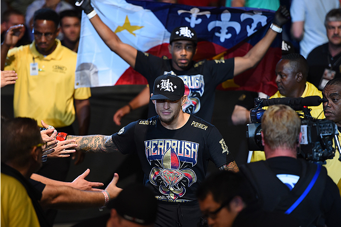 NEW ORLEANS, LA - JUNE 06:  Dustin Poirier prepares to enter the Octagon before facing Yancy Medeiros in their lightweight bout during the UFC event at the Smoothie King Center on June 6, 2015 in New Orleans, Louisiana. (Photo by Josh Hedges/Zuffa LLC/Zuf