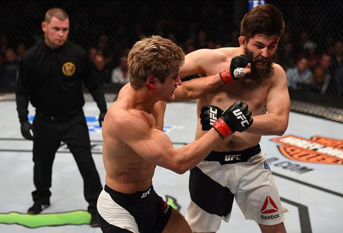 NEWARK, NJ - JANUARY 30:  (L-R) Sage Northcutt punches Bryan Barberena in their welterweight bout during the UFC Fight Night event at the Prudential Center on January 30, 2016 in Newark, New Jersey. (Photo by Josh Hedges/Zuffa LLC/Zuffa LLC via Getty Imag