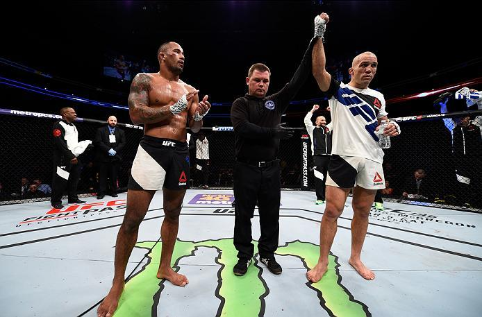 PITTSBURGH, PA - FEBRUARY 21:  (R-L) Nathan Coy celebrates his victory over Jonavin Webb in their welterweight bout during the UFC Fight Night event at Consol Energy Center on February 21, 2016 in Pittsburgh, Pennsylvania. (Photo by Jeff Bottari/Zuffa LLC
