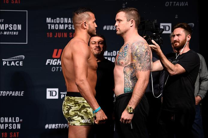 OTTAWA, ON - JUNE 17:  (L-R) Opponents Steve Bosse of Canada and Sean O�Connell of the United States face off during the UFC Fight Night Weigh-in inside the Arena at TD Place on June 17, 2016 in Ottawa, Ontario, Canada. (Photo by Jeff Bottari/Zuffa LLC/Zu