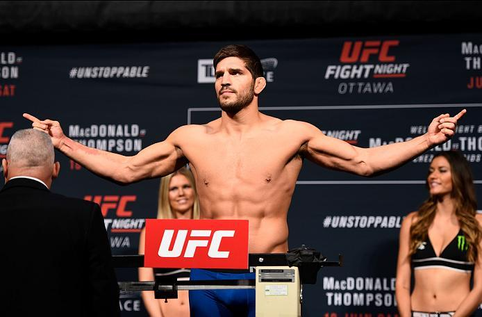 OTTAWA, ON - JUNE 17:  Patrick Cote of Canada steps on the scale during the UFC Fight Night Weigh-in inside the Arena at TD Place on June 17, 2016 in Ottawa, Ontario, Canada. (Photo by Jeff Bottari/Zuffa LLC/Zuffa LLC via Getty Images)