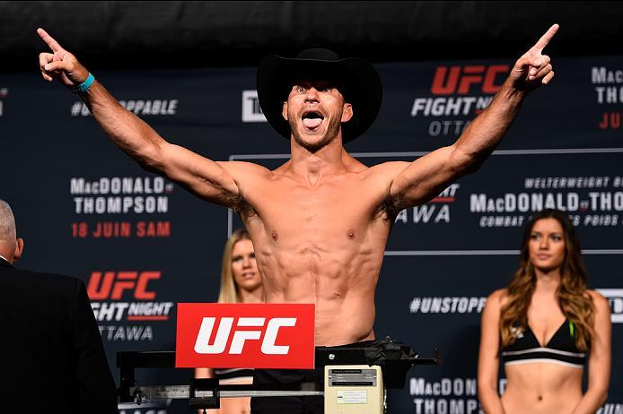 OTTAWA, ON - JUNE 17:  Donald Cerrone of the United States steps on the scale during the UFC Fight Night Weigh-in inside the Arena at TD Place on June 17, 2016 in Ottawa, Ontario, Canada. (Photo by Jeff Bottari/Zuffa LLC/Zuffa LLC via Getty Images)