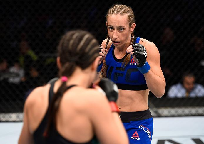 MEXICO CITY, MEXICO - NOVEMBER 05:  (R-L) Heather Jo Clark of the United States circles Alexa Grasso of Mexico in their women's strawweight bout during the UFC Fight Night event at Arena Ciudad de Mexico on November 5, 2016 in Mexico City, Mexico. (Photo