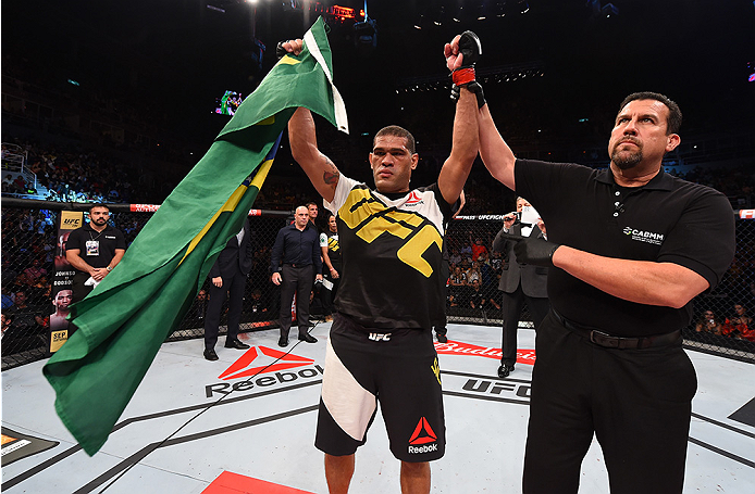 RIO DE JANEIRO, BRAZIL - AUGUST 01:  Antonio 'Bigfoot' Silva of Brazil celebrates his victory over Soa Palelei of Australia in their heavyweight bout during the UFC 190 event inside HSBC Arena on August 1, 2015 in Rio de Janeiro, Brazil.  (Photo by Josh H