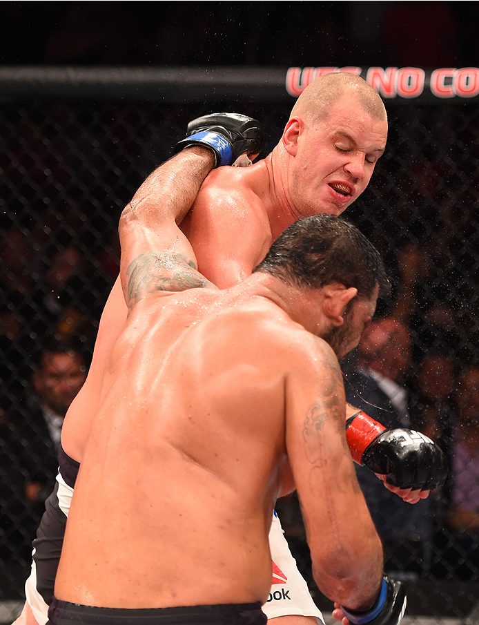 RIO DE JANEIRO, BRAZIL - AUGUST 01:  Stefan Struve of the Netherlands punches Rodrigo 'Minotauro' Nogueira of Brazil  in their heavyweight bout during the UFC 190 event inside HSBC Arena on August 1, 2015 in Rio de Janeiro, Brazil.  (Photo by Josh Hedges/