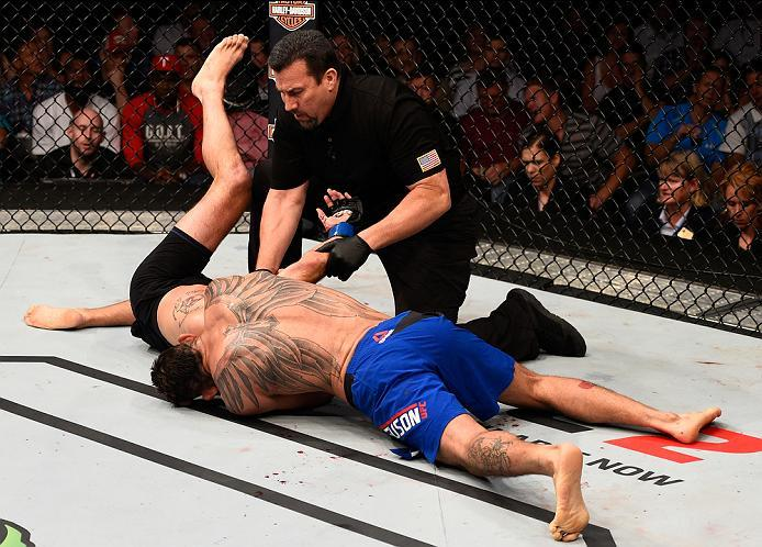 SIOUX FALLS, SD - JULY 13:   Tony Ferguson (top) attempts to submit Lando Vannat in their lightweight bout during the UFC Fight Night event on July 13, 2016 at Denny Sanford Premier Center in Sioux Falls, South Dakota. (Photo by Jeff Bottari/Zuffa LLC/Zuf