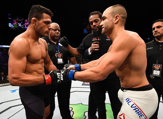 LAS VEGAS, NV - JULY 07:   (L-R) Opponents Rafael Dos Anjos of Brazil and Eddie Alvarez face off before their lightweight championship bout during the UFC Fight Night event inside the MGM Grand Garden Arena on July 7, 2016 in Las Vegas, Nevada. (Photo by