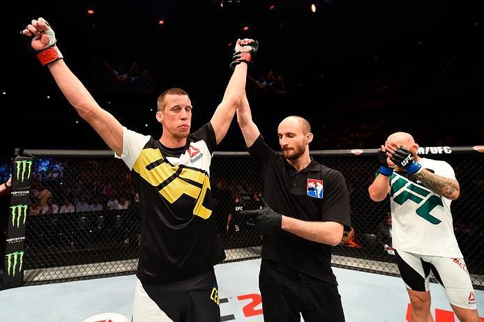ROTTERDAM, NETHERLANDS - MAY 08:  (L-R) Magnus Cedenblad celebrates his victory over Garreth McLellan in their middleweight bout during the UFC Fight Night event at Ahoy Rotterdam on May 8, 2016 in Rotterdam, Netherlands. (Photo by Josh Hedges/Zuffa LLC/Z