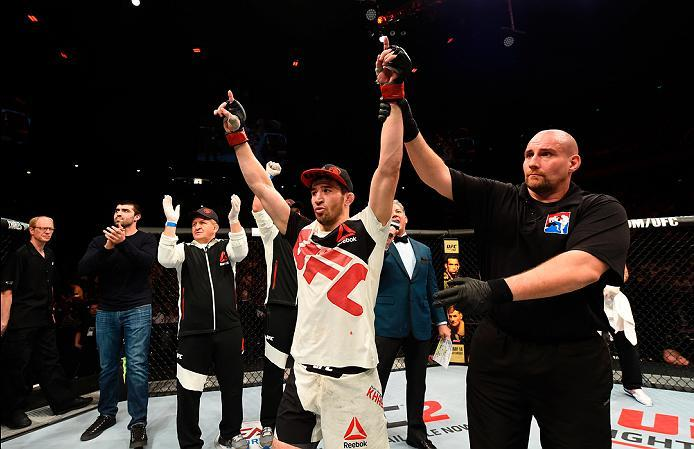 ROTTERDAM, NETHERLANDS - MAY 08:  Rustam Khabilov celebrates his victory over Chris Wade in their lightweight bout during the UFC Fight Night event at Ahoy Rotterdam on May 8, 2016 in Rotterdam, Netherlands. (Photo by Josh Hedges/Zuffa LLC/Zuffa LLC via G