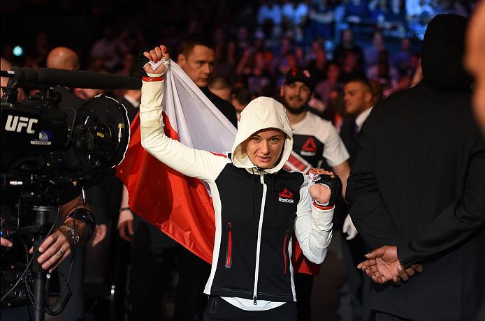 ROTTERDAM, NETHERLANDS - MAY 08:  Karolina Kowalkiewicz prepares to enter the Octagon before facing Heather Jo Clark in their women's strawweight bout during the UFC Fight Night event at Ahoy Rotterdam on May 8, 2016 in Rotterdam, Netherlands. (Photo by J