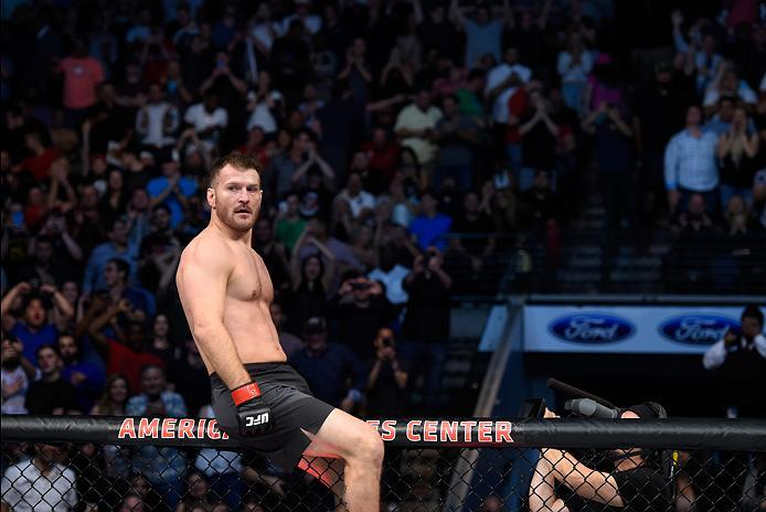 DALLAS, TX - MAY 13:  Stipe Miocic celebrates his TKO victory over Junior Dos Santos in their UFC heavyweight championship fight during the UFC 211 event at the American Airlines Center on May 13, 2017 in Dallas, Texas. (Photo by Josh Hedges/Zuffa LLC/Zuf