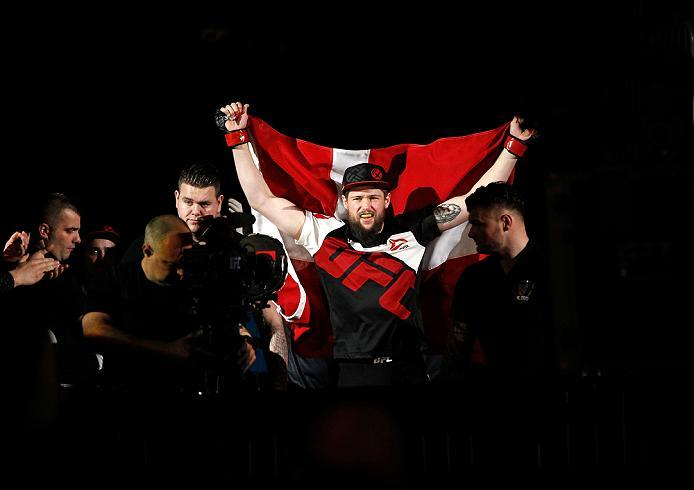 ZAGREB, CROATIA - APRIL 10:   Nicolas Dalby prepares to enter the Octagon before facing facing Zak Cummings in their welterweight bout during the UFC Fight Night event at the Arena Zagreb on April 10, 2016 in Zagreb, Croatia. (Photo by Srdjan Stevanovic/Z