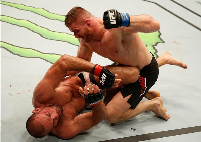 ZAGREB, CROATIA - APRIL 10:   Jan Blachowicz (top) punches Igor Pokrajac in their light heavyweight bout during the UFC Fight Night event at the Arena Zagreb on April 10, 2016 in Zagreb, Croatia. (Photo by Srdjan Stevanovic/Zuffa LLC/Zuffa LLC via Getty I
