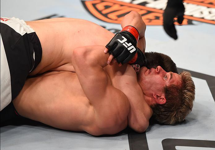 NEWARK, NJ - JANUARY 30:  Bryan Barberena (top) submits Sage Northcutt in their welterweight bout during the UFC Fight Night event at the Prudential Center on January 30, 2016 in Newark, New Jersey. (Photo by Josh Hedges/Zuffa LLC/Zuffa LLC via Getty Imag