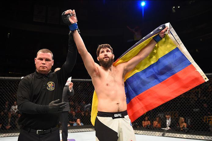 NEWARK, NJ - JANUARY 30:  Bryan Barberena celebrates his submission victory over Sage Northcutt in their welterweight bout during the UFC Fight Night event at the Prudential Center on January 30, 2016 in Newark, New Jersey. (Photo by Josh Hedges/Zuffa LLC