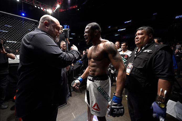 PITTSBURGH, PA - FEBRUARY 21:  Oluwale Bamgbose prepares to enter the Octagon before facing Daniel Sarafian in their middleweight bout during the UFC Fight Night event at Consol Energy Center on February 21, 2016 in Pittsburgh, Pennsylvania. (Photo by \20