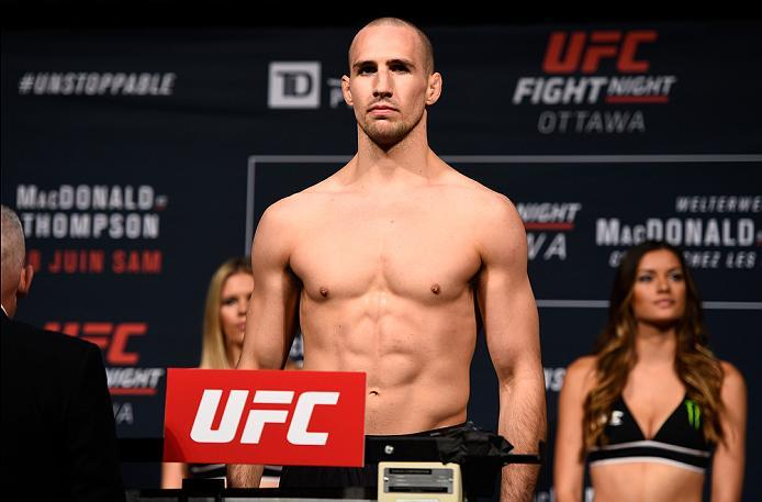 OTTAWA, ON - JUNE 17:  Rory MacDonald of Canada steps on the scale during the UFC Fight Night Weigh-in inside the Arena at TD Place on June 17, 2016 in Ottawa, Ontario, Canada. (Photo by Jeff Bottari/Zuffa LLC/Zuffa LLC via Getty Images)