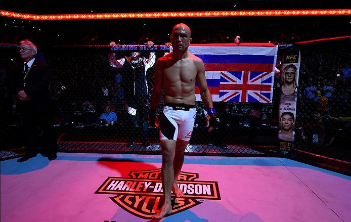 PHOENIX, AZ - JANUARY 15:  BJ Penn enters the Octagon before facing Yair Rodriguez of Mexico in their featherweight bout during the UFC Fight Night event inside Talking Stick Resort Arena on January 15, 2017 in Phoenix, Arizona. (Photo by Jeff Bottari/Zuf