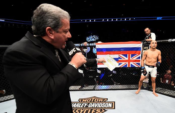 PHOENIX, AZ - JANUARY 15:  Bruce Buffer introduces BJ Penn as enters the Octagon before facing Yair Rodriguez of Mexico in their featherweight bout during the UFC Fight Night event inside Talking Stick Resort Arena on January 15, 2017 in Phoenix, Arizona.