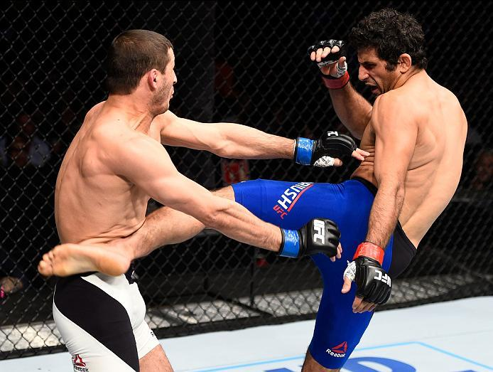 MEXICO CITY, MEXICO - NOVEMBER 05:  (R-L) Beneil Dariush of Iran kicks Rashid Magomedov of Russia in their lightweight bout during the UFC Fight Night event at Arena Ciudad de Mexico on November 5, 2016 in Mexico City, Mexico. (Photo by Jeff Bottari/Zuffa