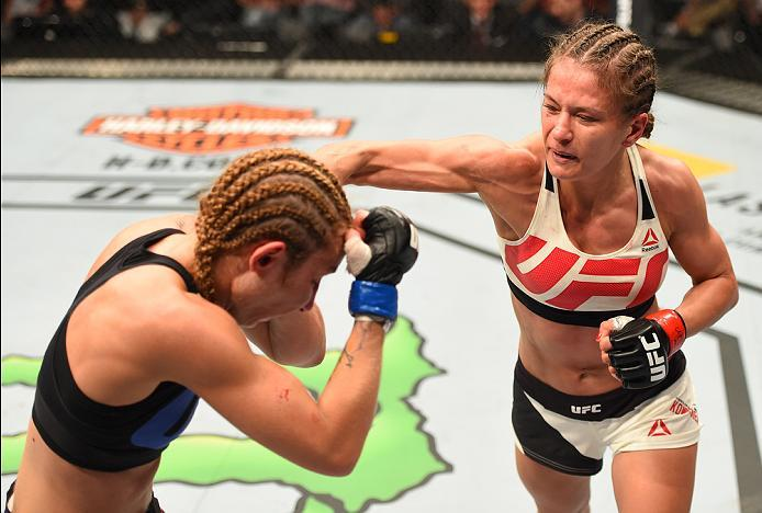 ROTTERDAM, NETHERLANDS - MAY 08:  (R-L) Karolina Kowalkiewicz punches Heather Jo Clark in their women's strawweight bout during the UFC Fight Night event at Ahoy Rotterdam on May 8, 2016 in Rotterdam, Netherlands. (Photo by Josh Hedges/Zuffa LLC/Zuffa LLC