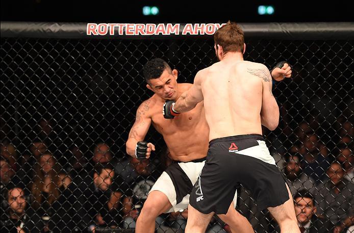 ROTTERDAM, NETHERLANDS - MAY 08:  (R-L) Nikita Krylov punches Francimar Barroso in their light heavyweight bout during the UFC Fight Night event at Ahoy Rotterdam on May 8, 2016 in Rotterdam, Netherlands. (Photo by Josh Hedges/Zuffa LLC/Zuffa LLC via Gett