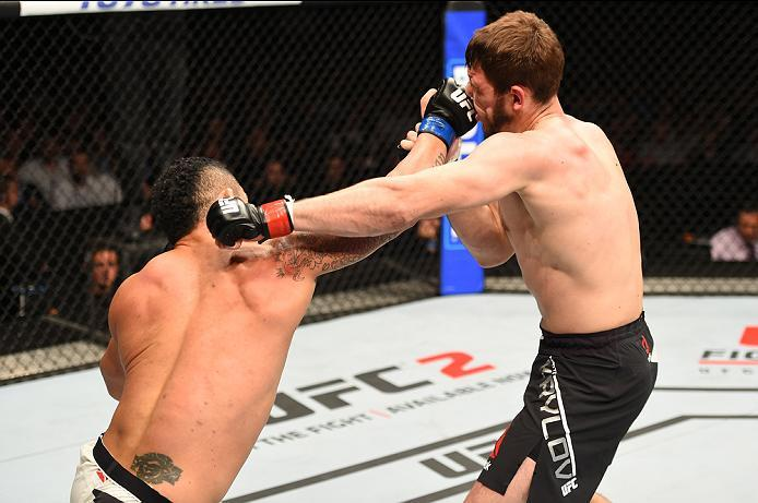 ROTTERDAM, NETHERLANDS - MAY 08:  (L-R) Nikita Krylov exchanges punches with Francimar Barroso in their light heavyweight bout during the UFC Fight Night event at Ahoy Rotterdam on May 8, 2016 in Rotterdam, Netherlands. (Photo by Josh Hedges/Zuffa LLC/Zuf