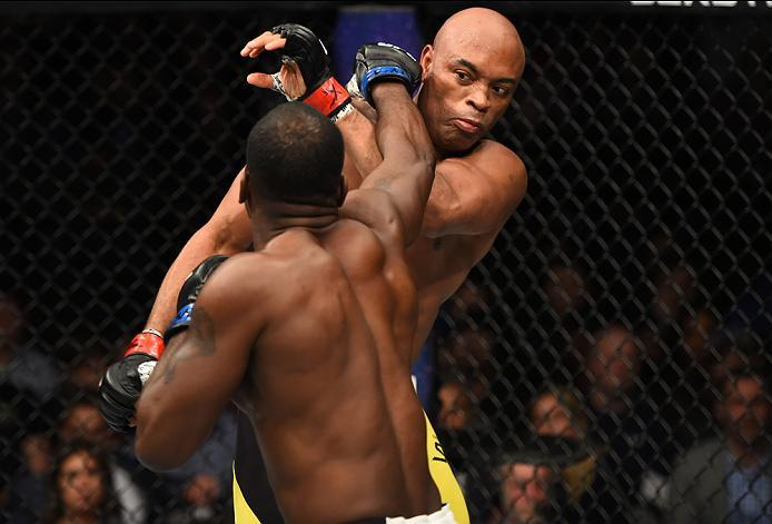 BROOKLYN, NEW YORK - FEBRUARY 11:  (L-R) Derek Brunson punches Anderson Silva of Brazil in their middleweight bout during the UFC 208 event inside Barclays Center on February 11, 2017 in Brooklyn, New York. (Photo by Jeff Bottari/Zuffa LLC/Zuffa LLC via G
