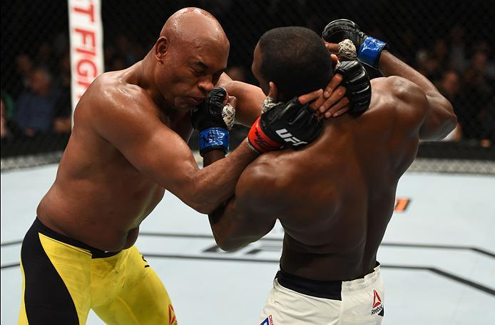 BROOKLYN, NEW YORK - FEBRUARY 11:  (R-L) Derek Brunson punches Anderson Silva of Brazil in their middleweight bout during the UFC 208 event inside Barclays Center on February 11, 2017 in Brooklyn, New York. (Photo by Jeff Bottari/Zuffa LLC/Zuffa LLC via G