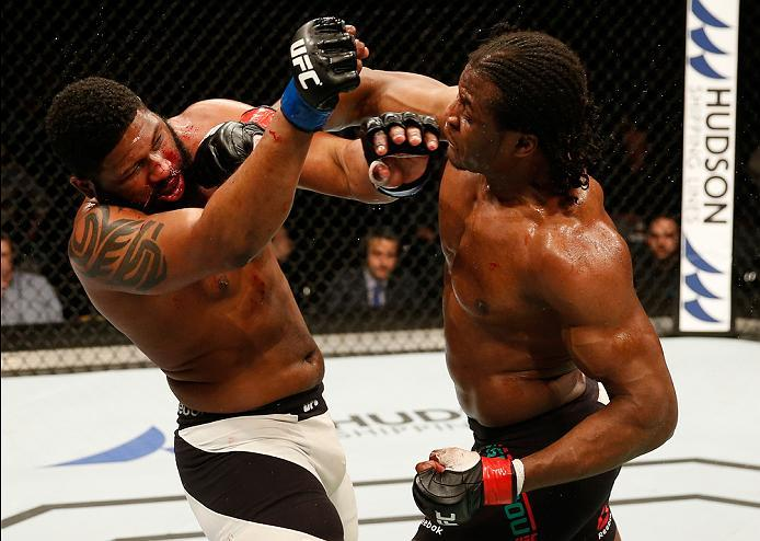 ZAGREB, CROATIA - APRIL 10:   (R-L) Francis Ngannou punches Curtis Blaydes in their heavyweight bout during the UFC Fight Night event at the Arena Zagreb on April 10, 2016 in Zagreb, Croatia. (Photo by Srdjan Stevanovic/Zuffa LLC/Zuffa LLC via Getty Image