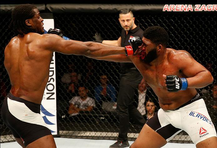 ZAGREB, CROATIA - APRIL 10:   (L-R) Francis Ngannou punches Curtis Blaydes in their heavyweight bout during the UFC Fight Night event at the Arena Zagreb on April 10, 2016 in Zagreb, Croatia. (Photo by Srdjan Stevanovic/Zuffa LLC/Zuffa LLC via Getty Image