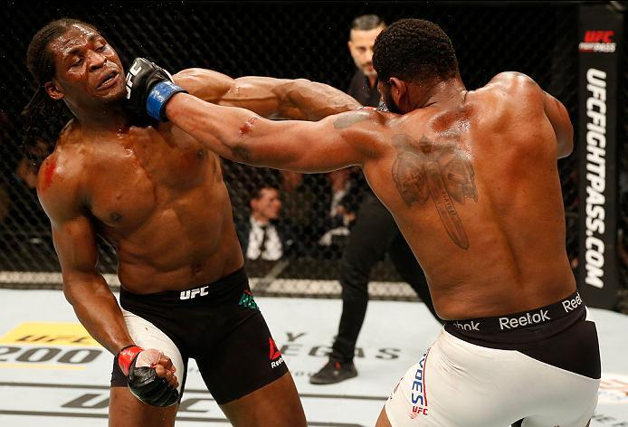 ZAGREB, CROATIA - APRIL 10:   (R-L) Curtis Blaydes punches Francis Ngannou in their heavyweight bout during the UFC Fight Night event at the Arena Zagreb on April 10, 2016 in Zagreb, Croatia. (Photo by Srdjan Stevanovic/Zuffa LLC/Zuffa LLC via Getty Image