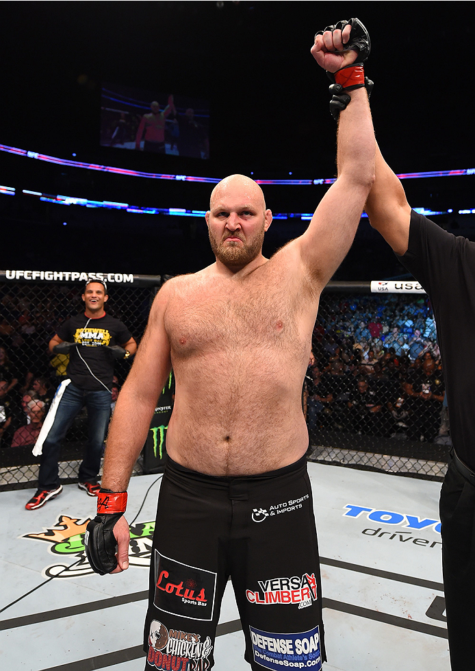 NEW ORLEANS, LA - JUNE 06:   Ben Rothwell celebrates his submission victory over Matt Mitrione in their heavyweight bout during the UFC event at the Smoothie King Center on June 6, 2015 in New Orleans, Louisiana. (Photo by Josh Hedges/Zuffa LLC/Zuffa LLC
